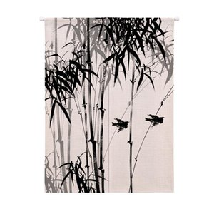 Curtain & Drapes Chinese Style Retro Ink Landscape Bamboo Door Kitchen Japan Home Decor Noren Feng Shui