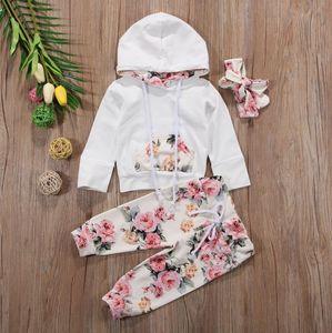 Neonata Abbigliamento Abbigliamento floreale Girls Felpe con cappuccio Pantaloni fascia 3pcs Set Flower Task Task Infant Outfits Boutique Baby Abbigliamento DW4894