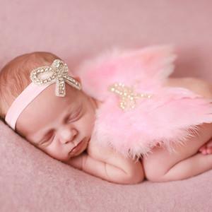 الوليد الطفل ريشة الجناح مع حجر الراين القوس عقال التصوير الدعائم مجموعة الرضع جميلة الملاك الجنية الوردي الأبيض زي الصورة الدعامة BAW10