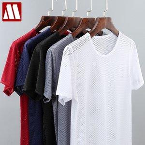 남자의 솔리드 메쉬는 Fishnet 티셔츠를 통해 티셔츠를 훑어보기 Tshirt 투명한 2021 섹시한 반팔 4XL O 넥 5 색 Mydbsh 210301