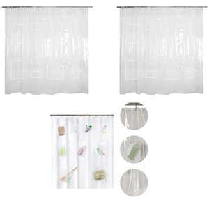 Curtain & Drapes Y1QB Waterproof Shower Liner With Pockets For Touchscreen Devices Multifunctional Clear Plastic Panel Phone Tablet