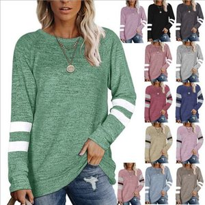 2020 sweater long sleeve splicing round neck casual T-shirt blouse