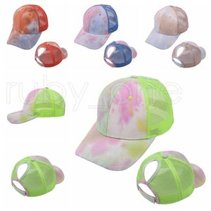Tie Dye Ponytail Baseball Caps Washed Trucker Hats Cap Outdoor Visor Snapbacks Caps Peaked Hat Party Hats 4styles RRA4180