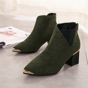 Botinhas de cootelili mujer botas de tornozelo para mulheres preto básico moda camurça botas de couro fêmea apontou o dedo 92mr #
