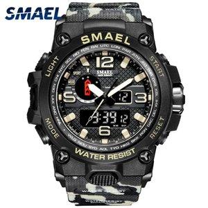 Montres SMAEL pour hommes 50m d'horloge imperméable Alarm reloj Hombre 1545D double affichage montre-bracelet de quartz montre de montre militaire Nouveau 210310