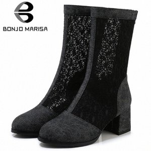 Bonjomarisa Nuovo 33 43 Ladies Fashion Street Denim Stivali estivi Elegante Mid Calf Mesh Boots Donna 2020 Tacchi alti Scarpe Donna J1FV #