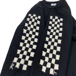2021 Yeni 21ss Erkek Kadın Checkerboard Yıkılan Püskül En Kaliteli Örme Jumper Rhude Kazak OI35