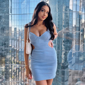 Spring Summer Sexy Dress Blue Hollow Sling Bodycon Dresses Night Club Party Birthday Outfits Fashion Streetwear Gothic Clothes
