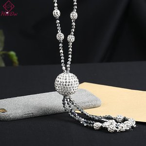 2021 Restore Winter New Long String Chain for Women Graceful Shiny Boor Ball Crystal Claws Trui Chains Kpop Jewlery