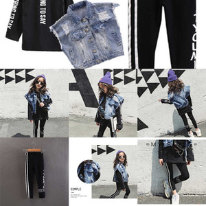 se Big Children Girls Clothing 2019 Autumn Street Style Sweater +Denim Waistcoat + Letter Legging Children Outfits 3 pcs CC-523 GXIA