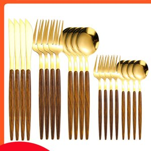 20 30Pcs Wood Gold Cutlery Knife Cake Fork Coffee Spoon Dinnerware Stainless Steel Tableware Western Kitchen Silverware Set