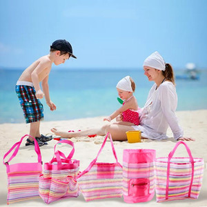 Portable Children Beach Bag Foldable Kids Mesh Toy Storage Bag Shell Sand Away Tote Outdoor Backpack Sundries Organizer
