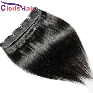 # 1B Tek Parça Klip 100% Gerçek İnsan Saç Uzantıları Ipeksi Düz Brezilyalı Remy Klip Weave 5 Klipler Kadınlar için Doğal Siyah Postanan