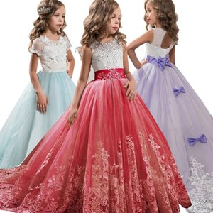 2019 Winter Bridesmaid Girls Dress Kids Dresses For Girls Clothing Lace Elegant Wedding Party Princess Dress Teenagers 4-14 Year