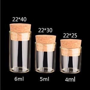 2021 Petit tube à essai avec bouchon de liège 4 ml 5 ml de bouteille d'épice de verre de verre de 6 ml de bricolage bricolage bouteille en verre transparent bouteille dérivante OWA3778