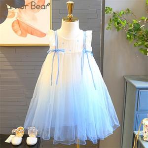 Humour Bear Bear Filles Été Sans manches Bébé Couleur Princesse Enfants Vêtements Pour Fille Robe d'anniversaire C0223