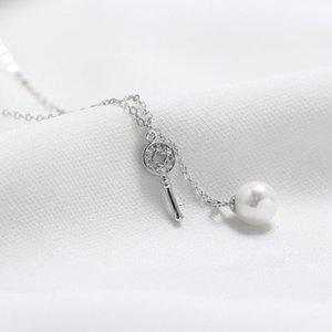 Yhn005 South US S925 sterling silver diamond inlaid clover Key Necklace Fashion Beizhu pearl clavicle chain