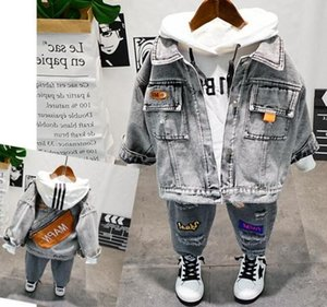 Retail 3pcs casual hoodies + pant+ coat boys clothing baby Boy sets kid's suits more color choosing free shipping EE5