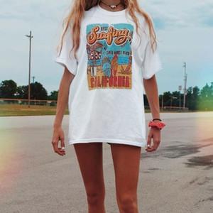 Urlaub Strand T-shirt Sommerweiß T-Stück der beste Surfing-Frauen-Retro-Stil T-shirt beiläufig übergroßes T-Stück 210304