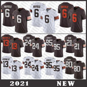 95 Myles Garrett 6 Baker Mayfield 24 Nick Chubb 80 Jarvis Landry 27 Kareem Hunt 21 Denzel Ward Odell Beckham ClevelandMaglietta da calcio