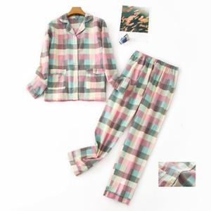 100% Katoen xadrez Mulheres Homewear Longo Camisa Broek Impressão dos desenhos animados Inverno Quente Namorada Casual Pijama Set Kpacotakowka