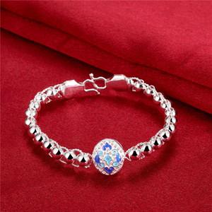 Carved round 925 silver plate bracelets size 18cm DMSB390,women's sterling silver plated bracelet jewelry Bangle