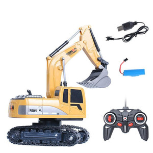 XZS RC Alloy Excavator& Digger Diecast Model Toy, 2.4G 6 Channels, One Button Demonstration, with Lights, 1:24 Scale, Xmas Kid Birthday Gift