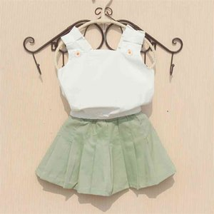 Girls Kids Blouses Summer Sleeveless Tops Cotton Solid Color White Shirts Cool Blouse for Teenage Children Clothes 3-16Y 210622