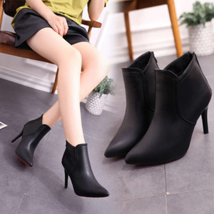 Low tube autumn and winter new fashion pointed high heel Martin women's zipper thermal boots