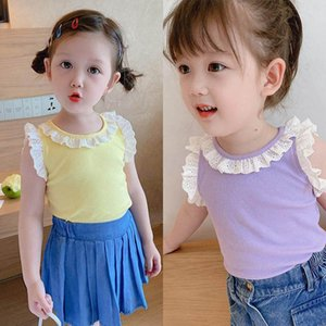 Girls Vest Kids Tops Summer Cotton Lace Sleeveless Girls Tank Kids Tshirts Fashion Princess Children Clothes Toddler Clothing 2 7Y B3963