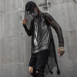 Erkek T-Shirt Gece Kulübü DJ Şarkıcı Seksi Mesh Hip Hop Punk Rock T Gömlek Uzun Tops ile Bel Halat Mens Harajuku Gotik Kapüşonlu Tee Gömlek Cloa
