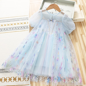 Girls Fairy Princess dress 2021 summer new Children Tutu Party dress Kids sequin star moon Short Sleeve Birthday Dresses C6886