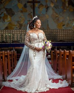 African Plus Size Mermaid Wedding Dresses Arabic Aso Ebi Luxurious Lace Beaded Sheer O-neck Illusion Long Sleeve Bridal Gowns