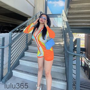 Casual Lady Short Jumpsuits 2021 Lapel Neck Long Sleeves Print Buttons Rompers 2 Colors lulu365