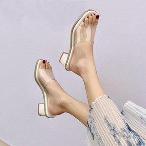 Zawsthia Chic PVC ясные прозрачные женские сандалии желтые синие розовые коренастые высокие каблуки открытые пальцы горки каблуки мужские тапочки