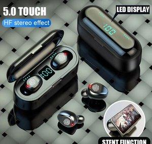 Kablosuz Kulaklık Bluetooth V5.0 F9 Cep Telefonu Kulaklık HIFI Stereo Kulaklıklar LED Ekran Dokunmatik Kontrol 2000 MAH Güç Bankası Kulaklık Mic ile + Perakende Kutusu