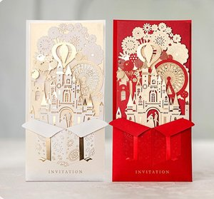 1pcs WISHMADE Laser Cut Wedding Invitations Cards 3D Gold Gilding Bride and Groom in Castle for Engagement Bridal Shower