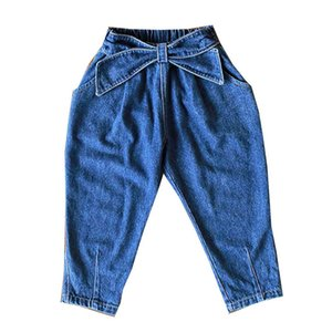 Girls Jeans Kids Harem Pants Cotton Denim Kids Jeans Spring Autumn Casual Trousers Bows Children Clothes 2-8Y B4004