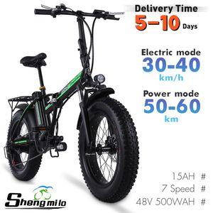Shengmilo mx20 500w 40km / h 20 pulgadas plegable eléctrico bicicleta de montaña Ciudad eléctrica 4.0 bicicleta de neumático gordo adulto ebike playa crucero