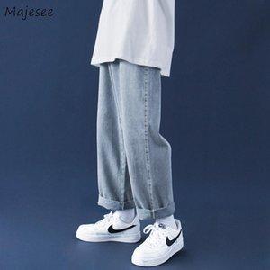Мужские джинсы мужские твердые свободные джинсовые модные Все-матча прямые мужчины досуг шикарный мешковатый ковбой брюки хараджуку ретро простым