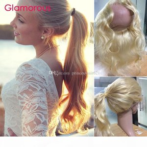 Glamour blonde cheveux 360 frontal # 613 Breakilian Body Wave Hair Hair Hair Dentelle Frontal Péruvien Indian Russe Russe Dentelle Fermeture