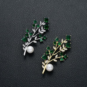 Simple Leaves Plant Brooch Pin 2021 New Designer Brooches for Women Green Zircon Pearl Broches Pins Christmas Gifts