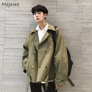Jackets Men Solid Double Breasted All-match Chic Harajuku Mens Coat Turn-down Collar Streetwear Simple Loose 2XL Pockets Fashion1