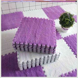 AYRA 10Pcs Lot Soft Plush Kids Rug Baby Play Mat Toys Eva Foam Infant Developing Puzzle Interlock Floor s 30*30 CM 210915