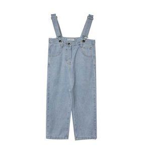 2021 Spring Summer Girls Jeans Kids Braces Suspenders Jumpsuit Thouser Pants Overalls Children Clothing 2-7Y SM020
