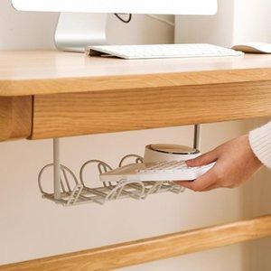 Debajo de la mesa de almacenamiento en bastidor de acabado de marco de alambre organizador de bastidor de rack multiusos para el hogar Punch libre enrutador de enchufe colgando