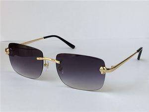 새로운 패션 남자 디자인 선글라스 작은 사각형 프레임 0148 금속 동물의 무선 안경 현대 빈티지 인기있는 안경 최고 품질의 경우