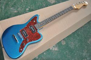 Металлическое синее тело Электрическая гитара с палисандром, красный жемчужный пикер, оборудование Chrome, предоставление индивидуальных услуг
