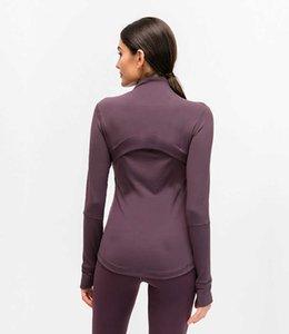 L-78 осень зима новая куртка для молнии быстро сушка йога одежда с длинным рукавом пальцами, обучение бегущей куртки женщин тонкий фитнес