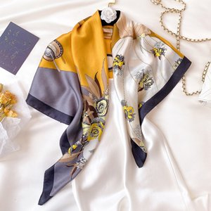 Mulberry new spring and summer thin 90 square real decorative shawl art printing silk scarf RJNM